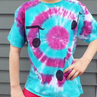Tie Dye Kids Music Shirt- Childrens Tie Dye Music Shirt- Music Note Shirt- Musician Gift- Musician Shirt- Hippie Kids- Child Large (10-12)