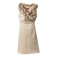Women's Ruffle Neck Shantung Dress - Neutral Colors