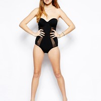 ASOS Cupped Mesh Insert Bandeau Swimsuit