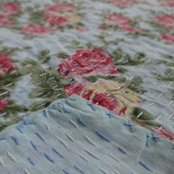 Floral Print Handmade Cotton Bedspread, Hand Stitched Kantha Quilt, Reversible Designer Bed Cover, Indian Twin Size Bedding, Room Decor