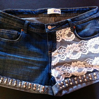 Studded denim shorts with lace