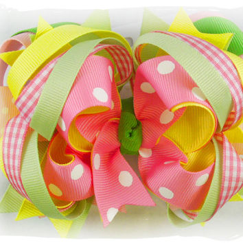 Boutique hair bow, Boutique stacked bow, Gymboree bow, M2MG Lemony Fresh bow, Pink and yellow bow, Hair bows for girls, Toddler bow