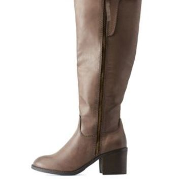 Taupe Distressed Side-Zipper Chunky Heel Boots by Charlotte Russe