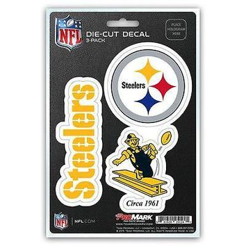 Pittsburgh Steelers Auto Decal NFL Car Sticker Pack of 3