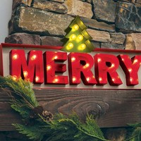 Old Fashioned Merry Lit Sign