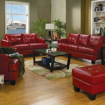 Coaster 501831-32 2 pc samuel collection red bonded leather sofa and love seat set with tufted seat and backs