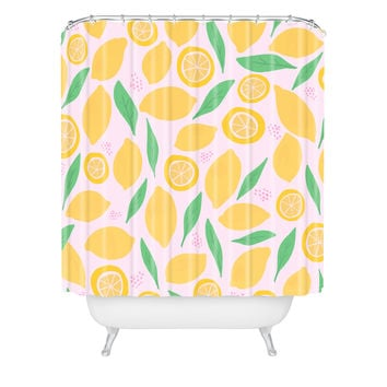 Leah Flores Pink Lemonade Pattern Shower Curtain