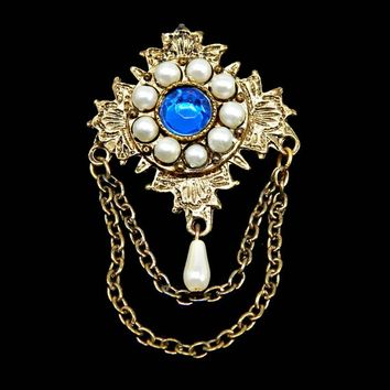 Blue Rhinestone and Pearl Maltese Cross Brooch With Dangle and Swag Chains Gold Tone