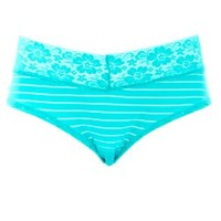 Sheer-Striped Lace Trim Hipster Panties by Charlotte Russe - Green