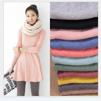 Women's Girl Mini Dress Long Sleeve Candy Color One-piece Slim Basic Dresses = 1958317380