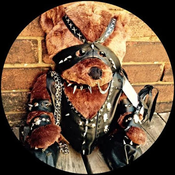 Leather BondageTeddy Bear - Genuine Premium Leather Clad Unique Adult Gift - Blindfolded w Mini Flogger