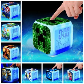 Hot Sale Digital alarm clock kids toys Super Mario spider man LED reloj despertador minions wake up light wekker reveil