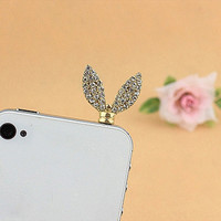 Gorgeous Rhinestoned Women's Bunny Ears Shape 3.5mm Anti-dust Dustproof plug Earphone Cap Jack for iphone samsung HTC (Color: Multicolor) = 1842628932