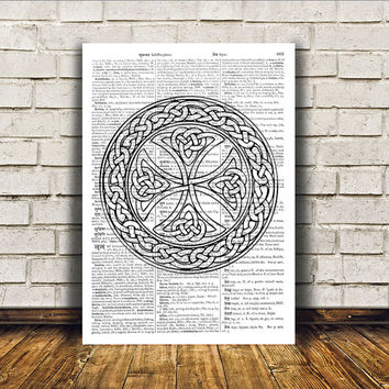 Medieval art Celtic cross print Wall decor Celt poster RTA184