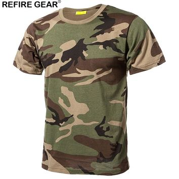 Refire Gear Outdoor Quick Dry T Shirts Men Cotton Camouflage Paintball Hunting Shirts Breathable Military Tactical Camo T-Shirt