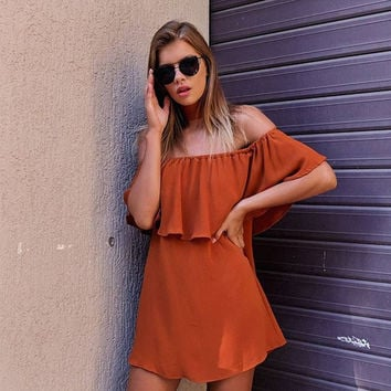 Orange Off The Shoulder Ruffles Shift Dress