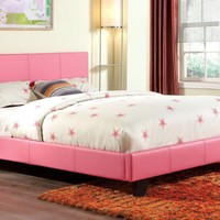 Troxell Contemporary Leatherette Bluetooth Queen Bed in Pink