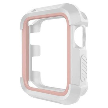 Umtele Rugged Apple Watch Case 38mm Shock Proof Bumper Cover Scratch Resistant Protective Case For Apple Series 3 Series 2 Series 1 White/pink