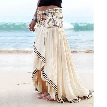 52a2a20c27ad 2019 New Women's Embroidery Long Maxi Skirts Lace Patchwork