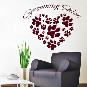 Animal Paw Prints Wall Decals Grooming Salon Dog Cat Puppy Pets Pet Shop Interior Design Vinyl Decal Sticker Art Mural Kids Room Decor KG880