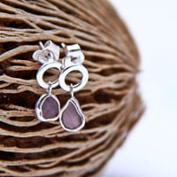 Soft pink spinel slice earrings in sterling silver - round circles and rough spinel from Sri Lanka