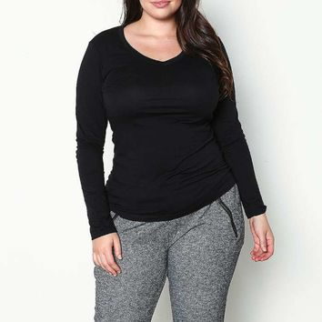 PLUS SIZE V NECK LONG SLEEVE TOP