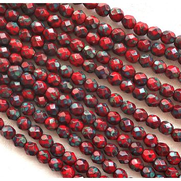 Lot of 25 6mm round - faceted- firepolished - Czech glass beads - Opaque Red w/ full picasso coat - earthy - rustic beads C0501