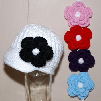 Crochet baby hats Visor Beanie Hat with 5 by BitofWhimsyCrochet