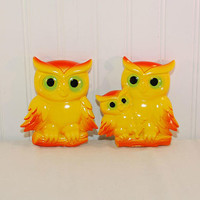 Vintage Miller Studio Inc. Chalkware or Plasterware Brightly Colored Pair of Perched Owls (c. 1977) Chippy, Bright Yellow and Orange, Kitsch