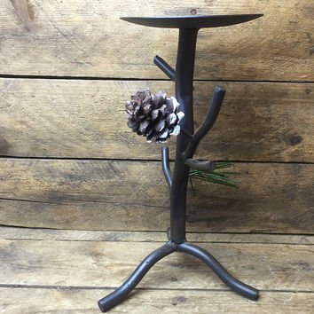 Wrought Iron Pine Cone Candle Holder 9""