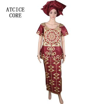 African dresses for women 100% COTTON NEW AFRICAN FASHION DESIGN BAIZN RICH EMBROIDERY DESIGN DRESS african clothes DP82#