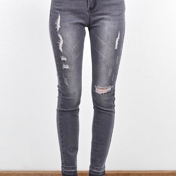 Raw Hem Stone Washed Skinny Jean {Grey}