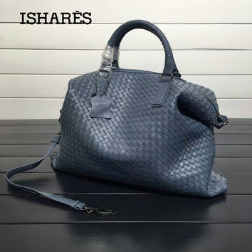 ISHARES Genuine Leather Sheepskin Handbags lambskin high quality Women weave Shoulder Bags Casual Totes Large Capacity IS193785