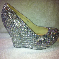 Closed Toe Wedge Rhinestone Crystal Court Heels - Bridal Prom Romany Party Shoes