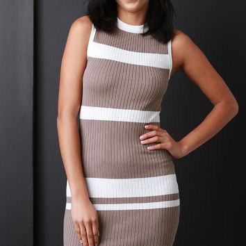 Striped Mock Neck Bodycon Dress | UrbanOG