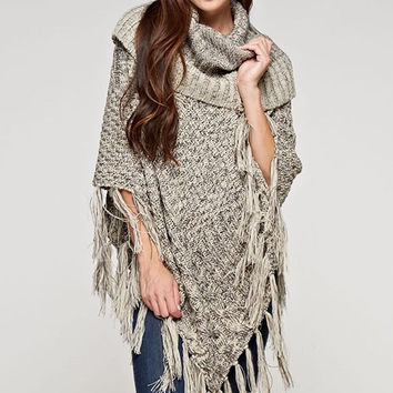 Apparel- Bianca Two Toned Patchwork Cable Poncho with Fringe