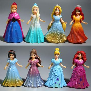 Disney Toys For Kid 8pcs/Lot Fashion Cartoon Movies Frozen Anna Elsa Princess Action Figure Dolls For Kids Toy Girls Gifts