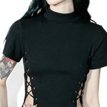 Black High Neck Lace Up Side Short Sleeve Cropped T-shirt