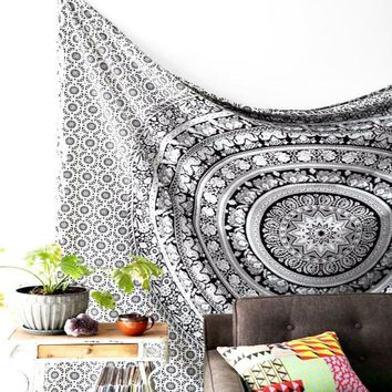 Magical Thinking Floral Elephant Tapestry