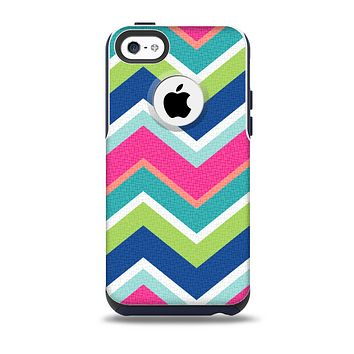 The Vibrant Teal & Colored Layered Chevron V3 Skin for the iPhone 5c OtterBox Commuter Case