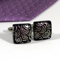 Pink and Black Cufflinks, Swirl Spiral Pattern, Dichroic Fused Glass