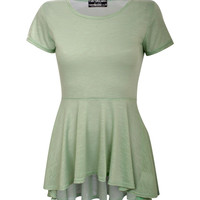 Emmie High Low Cap Sleeve Peplum Top in Mint Green