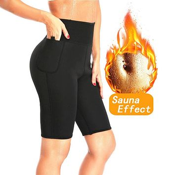 NINGMI Slimming Sauna Pant Hot Thermo Neoprene Sweat Capris Fat Burner Shapewear Fitness Body Shaper Control Panties Weight Loss