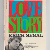 1970s Vintage paperback Love Story by Eric Segal movie tie in novel, 1970 classic book romance Ali MacGraw Ryan ONeal