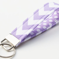 Lilac Chevron Key Fob, Fabric Key Chain , Key Strap -  Purple and White