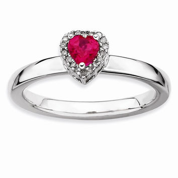 Sterling Silver Stackable Expressions Simulated Ruby Heart Diamond Ring: RingSize: 8