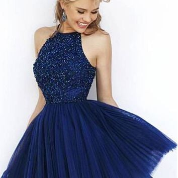 Buy discount Elegant Tulle Jewel Neckline A-line Homecoming Dresses with Beadings & Rhinestones at Dressilyme.com