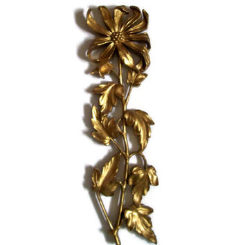 Vintage Hollywood Regency Wall Plaque, Gold Floral Plastic Hanging, Mid Century Decor, Syroco, 1960's