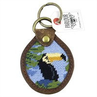 Toucan Needlepoint Key Fob in Blue by Parlour