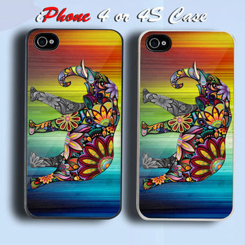 Floral Elephant Custom iPhone 4 or 4S Case Cover
